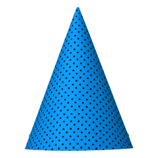 Custom Blue and Black Polka Dots Party Hat