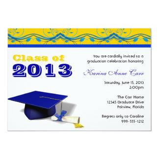 Custom Blue and Gold Graduation Party Invitations