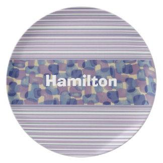 Custom Blue and Lavender Tie Dye Plate