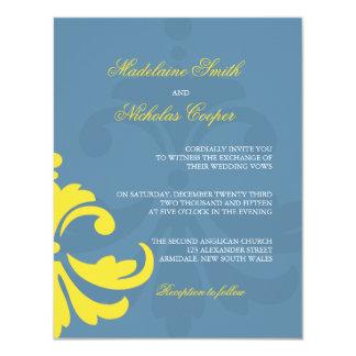 Custom blue and white damask wedding invite