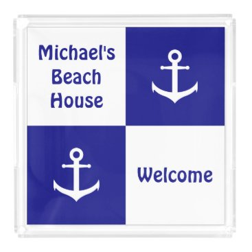 Beach Themed Custom Blue and White Nautical Serving Tray