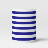 Custom Blue and White Stripes Pillar Candle
