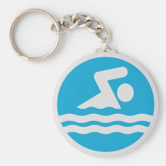 Custom Blue and White Swim Decal Keyring Basic Round Button Keychain
