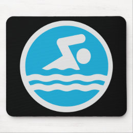 Custom Blue and White Swim Decal Mouse Pad