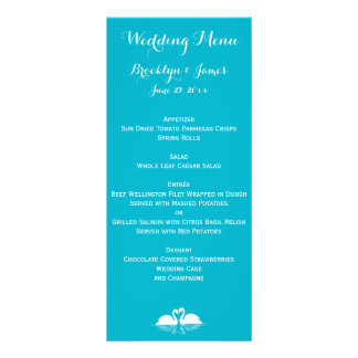 Custom Blue And White Wedding Menu Cards Swans