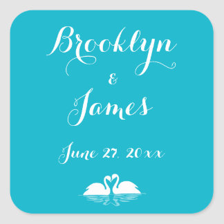 Custom Blue And White Wedding Stickers Swans