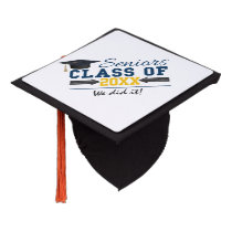 Custom Blue and yellow Graduation Tassel topper
