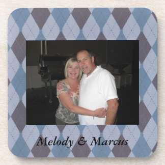 Custom Blue Argyle Photo Personalized Coasters