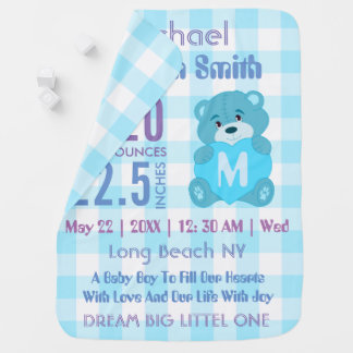 Custom blue baby boy birth stats baby blanket