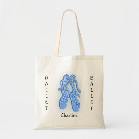 Custom Blue Ballet Shoe Tote Bag