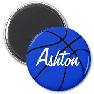 Custom Blue Basketball Round Fridge Magnet