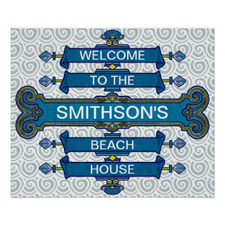 Custom Blue Beach House Sign with Scallop Swirls