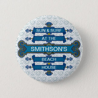 Custom Blue Beach House Sign with Scallop Swirls Button