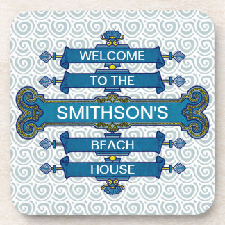 Custom Blue Beach House Sign with Scallop Swirls Coaster