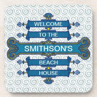 Custom Blue Beach House Sign with Scallop Swirls Drink Coaster