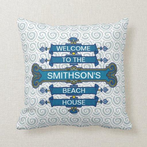 Custom Blue Beach House Sign with Scallop Swirls Pillow