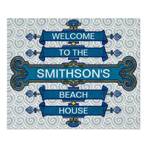 Custom Blue Beach House Sign with Scallop Swirls Posters