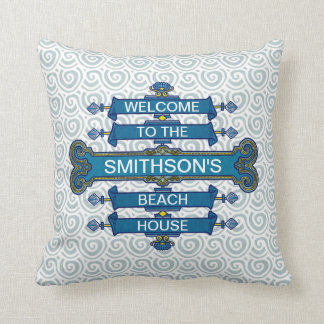 Custom Blue Beach House Sign with Scallop Swirls Throw Pillow