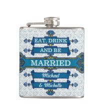 Custom Blue Beach Wedding Name Flask