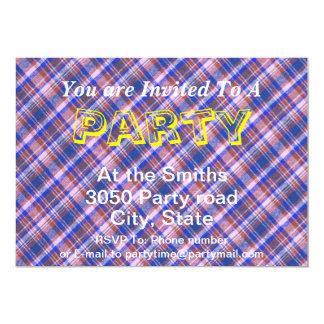 Custom Blue Brown and White Plaid Pattern Card