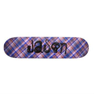 Custom Blue Brown and White Plaid Pattern Skate Board Deck