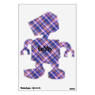 Custom Blue Brown and White Plaid Pattern Wall Decal