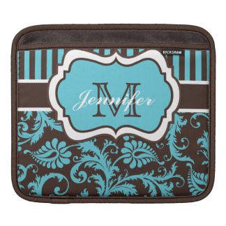 Custom Blue, Brown, White Striped Floral Damask Sleeve For iPads