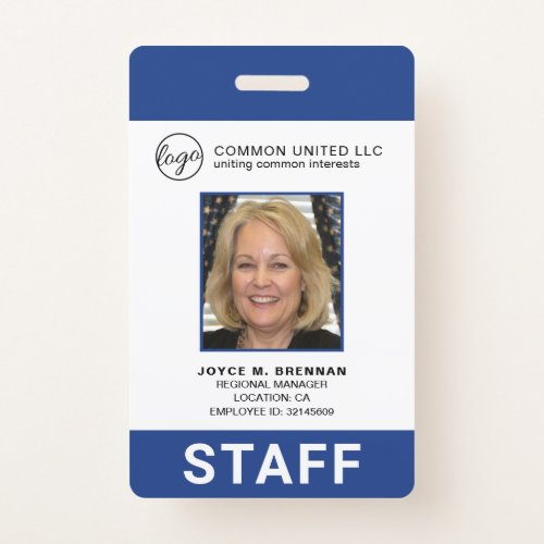 Custom Blue Business Logo Employee Photo ID Badge