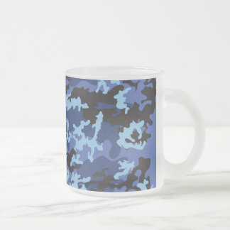 Custom Blue Camo Frosted Coffee Mug