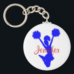 "Custom Blue Cheerleader Key Chain<br><div class=""desc"">Custom cheerleader&#39;s key chain,  with graphics of a blue silhouette of a jumping cheerleader.  Custom red script text is customizable to read what ever you want.  Great little gift for any age cheerleader.</div>"