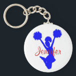 """Custom Blue Cheerleader Key Chain<br><div class=""""desc"""">Custom cheerleader&#39;s key chain,  with graphics of a blue silhouette of a jumping cheerleader.  Custom red script text is customizable to read what ever you want.  Great little gift for any age cheerleader.</div>"""