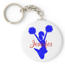 Custom Blue Cheerleader Key Chain