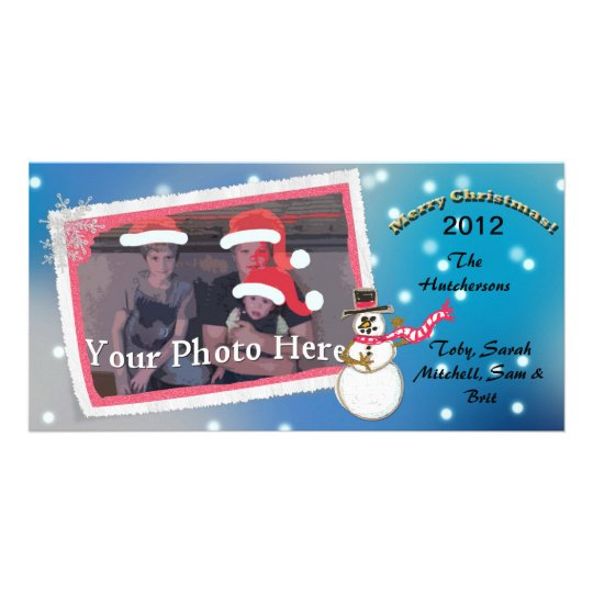 Custom Blue Christmas Snowman With One Photo - Card