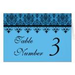 Custom Blue Damask Wedding Table Number Cards Greeting Cards