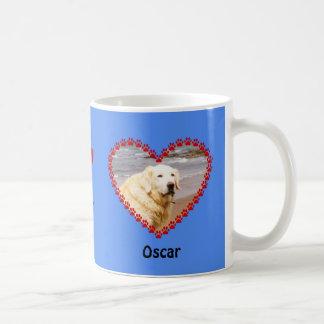 Custom blue dog photo paw prints memory coffee mug