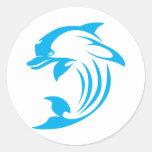 Custom Blue Dolphin Logo Classic Round Sticker