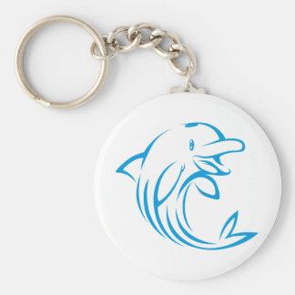 Custom Blue Dolphin Logo Keychain