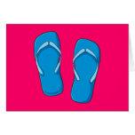 Custom Blue Flip Flops Sandals Greeting Cards Pins