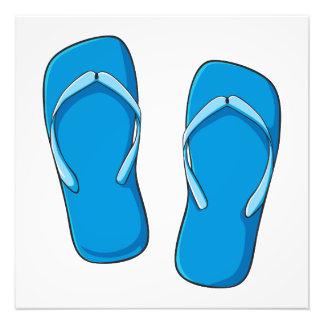 Custom Blue Flip Flops Sandals Greeting Cards Pins Photograph