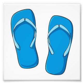 Custom Blue Flip Flops Sandals Invitation Postage Photo Art