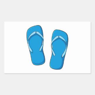 Custom Blue Flip Flops Sandals Invitation Postage Rectangular Sticker