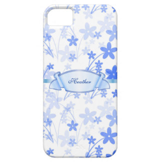 Custom Blue Floral iPhone 5 Barely There Case