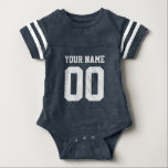 "Custom blue football jersey number baby bodysuit<br><div class=""desc"">Personalized football jersey number baby jumpsuit / bodysuit. Custom sports baby clothing for infant boys and girls. Personalizable one piece creeper with name of newborn child. Cute gift idea for 1st Birthday or baby shower party. Sporty striped sleeves unisex baby suit. Available in dark navy blue, royal blue, red, neon...</div>"