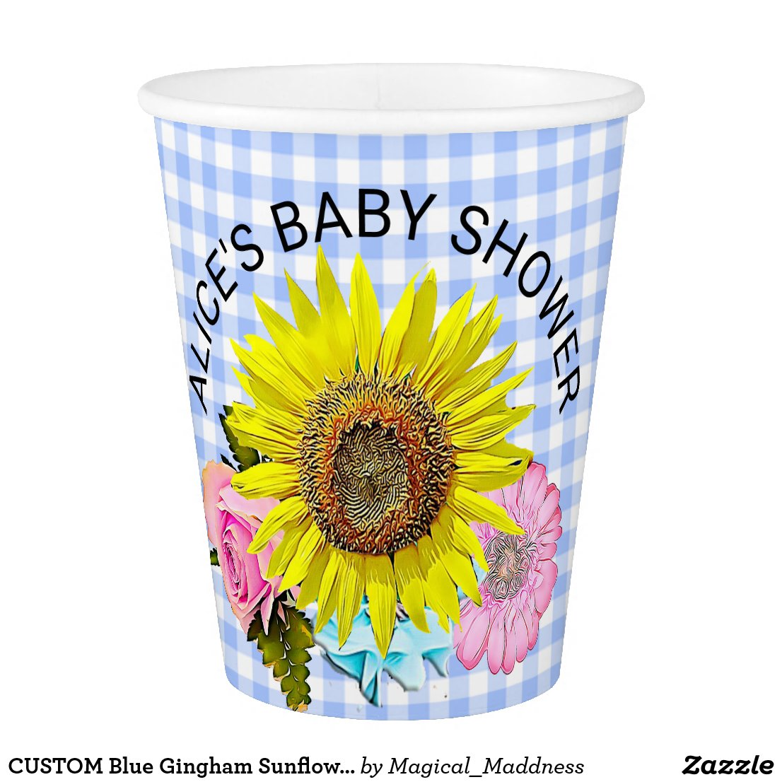 CUSTOM Blue Gingham Sunflower Flower Paper Cup