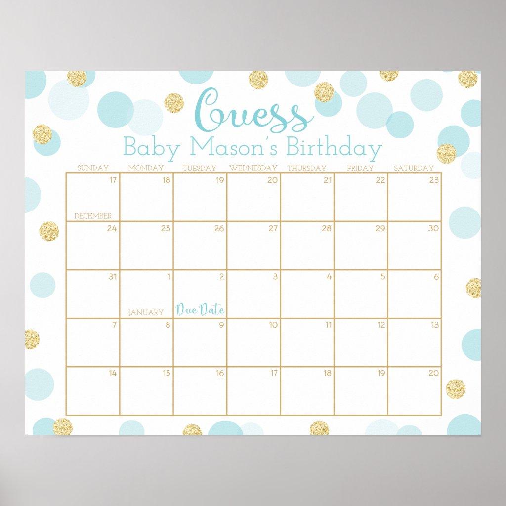 Custom Blue Gold Dots Baby Shower Calendar-Lauren Poster