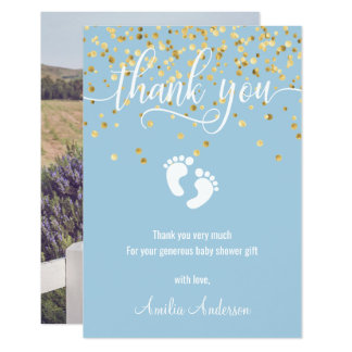 Custom Blue Gold THANK YOU Baby Shower BOY | PHOTO Card
