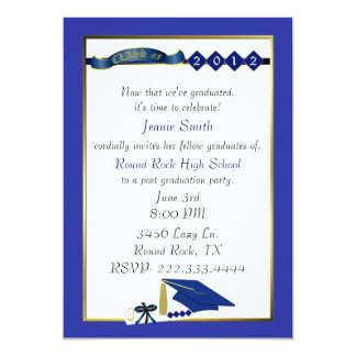 Custom Blue Graduation Party Invitation