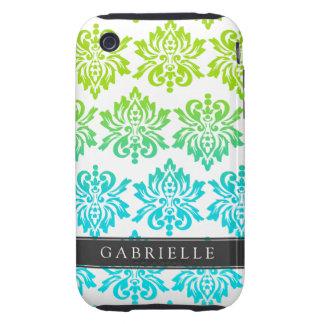 Custom Blue Green Damask iPhone 3 Tough Case