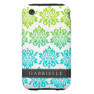 Custom Blue Green Damask Tough iPhone 3 Cover