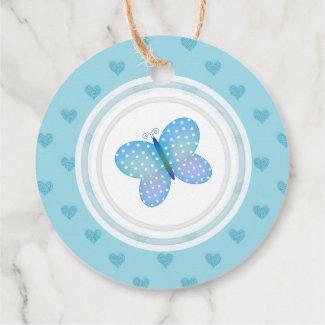 Custom Blue Heart Butterfly Favor Tags